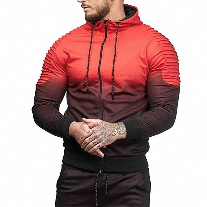 2018 New Autumn Hoodies Men Gradient Fashion Tracksuit Hoodie Sweatshirts Maledresslliy-dresslliy