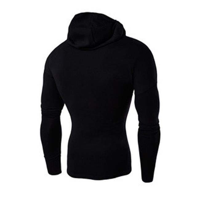 New 2018 Mens Elastic Slim Fitness Ninja Hoodie Shirt Brand Clothing Casualdresslliy-dresslliy