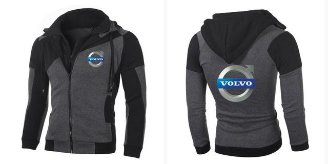 Fashion Men's New Hoodie VOLVO Personality Color Double Zip Hooded Cardigan Slimdresslliy-dresslliy