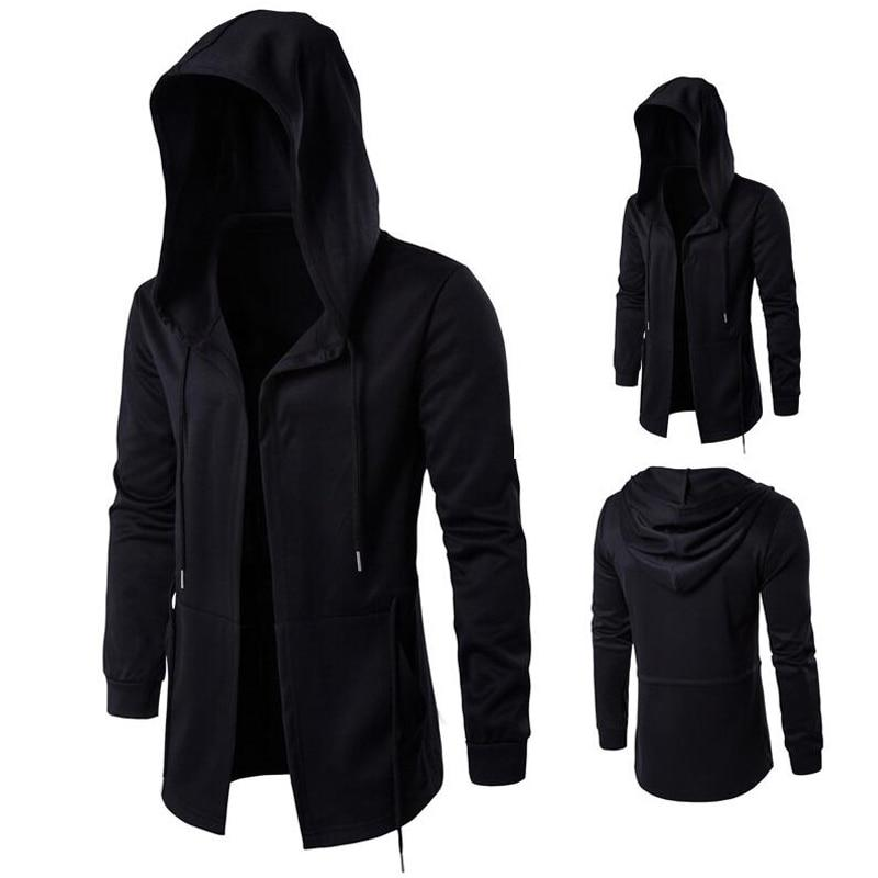 Long Design Hoodies Men Fashion Hip Hop Sweatshirt Streetwear Black Gown Coatsdresslliy-dresslliy