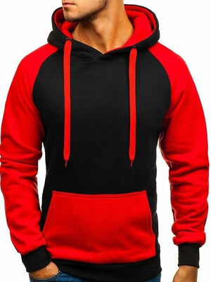 2018 Fashion Men Brand Hip Hop Men Sweatshirt Solid Color Stitching Hoodiedresslliy-dresslliy