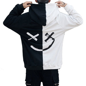 Harajuku Be Happy Letter Print Mens Patchwork Hoodies Sweatshirts 2018 Autumn Smiledresslliy-dresslliy