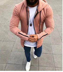 2018 Fashion 4-color 8-yard men's pleated long-sleeved hooded 4 colors avaliabledresslliy-dresslliy