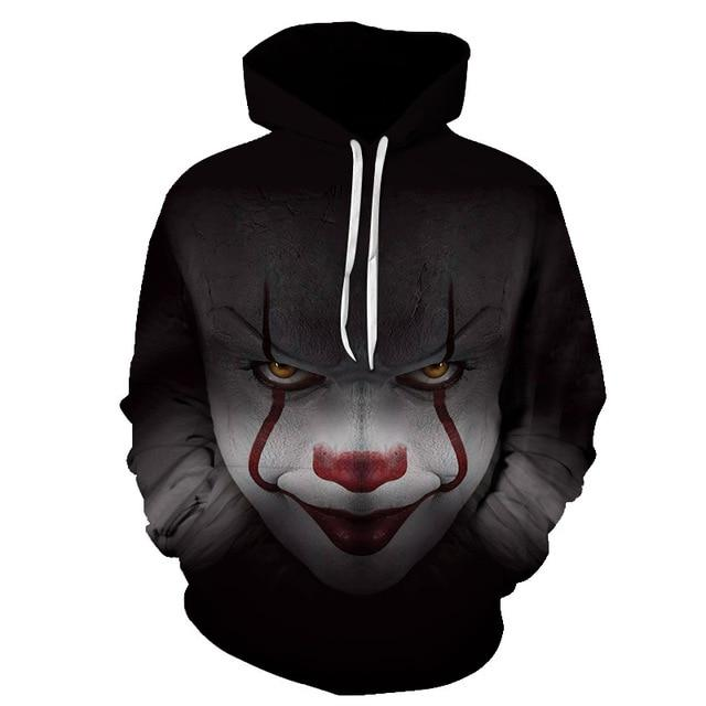 New Horror Movie Clown Hoodie 3d Skull Sweatshirt Plus Size S-6XLdresslliy-dresslliy