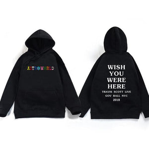 2018 Travis Scott Astroworld WISH YOU WERE HERE Unisex Pullover Hoodie anddresslliy-dresslliy