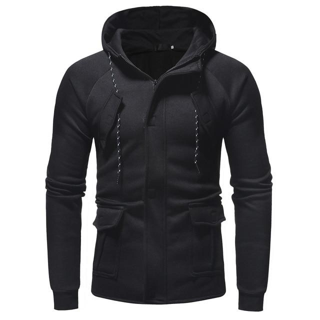 Mens Hoodies Sweatshirts Autumn Winter Casual Long Sleeve Zipper Pocket Work Hoodeddresslliy-dresslliy