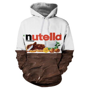 Women/men 3D sweatshirts hoodies Nutella Spoof Fun Life Like Food Chocolate Saucedresslliy-dresslliy