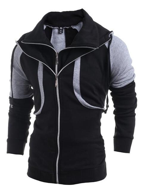 Dropshipping Men Hoodie Double Zipper Hoody Jacket 2018 Brand Fashion Turtleneck Sweatshirtdresslliy-dresslliy