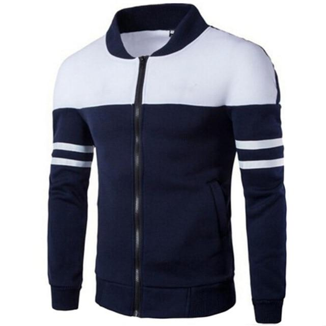 2018 Spring Autumn Hoody Jackets Men Hoodies Sweatshirts Fashion Patchwork Stripe Slimdresslliy-dresslliy