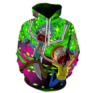 2018 New 3D Sweatshirts Hip Hop Men/Women Hat Funny Print Rick Mortydresslliy-dresslliy