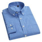 100% Cotton Long Sleeve Shirts Button Down Collar Plaid Oxford Slim Fitdresslliy-dresslliy