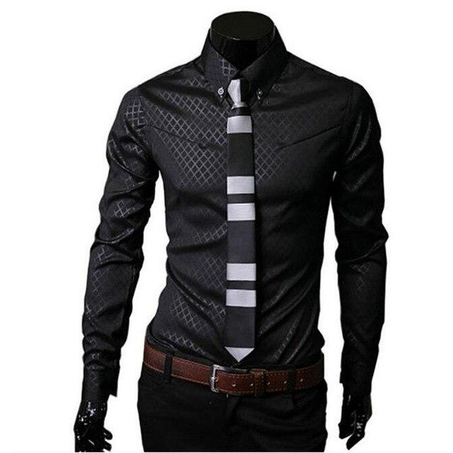 1Pcs Casual Fashion Long Sleeve Men's Slim Fit Cotton New Lattice 2018dresslliy-dresslliy