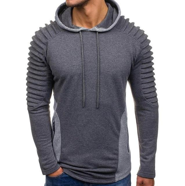 Drop Shipping Hoodie Men Long Sleeve Solid Color Hooded Sweatshirt Man Folddresslliy-dresslliy