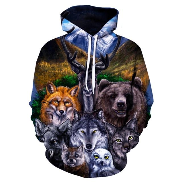 New Two Wolf Hoodie Men/Women 3D Print Hoodies Hat Tops Harajuku Hoodeddresslliy-dresslliy