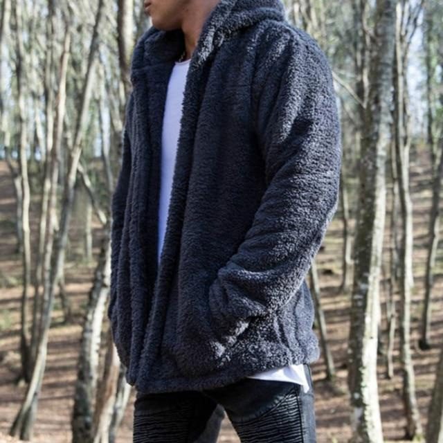 Bomber Cardigan Jacket Men 2018 New Brand Winter Thick Warm Fleece Teddydresslliy-dresslliy