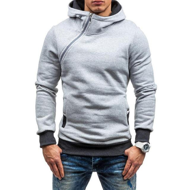 Cool Men Hoodie 2018 Oblique Zipper Solid Color Hoodies Sweatshirts Fashion Tracksuitdresslliy-dresslliy