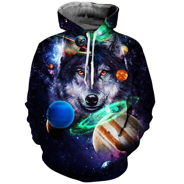 Wolf Hoodies Men/Women 3d Sweatshirts Hat Print 3 Wolf Howling To Thedresslliy-dresslliy