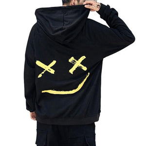 Smile Print Hoodie Sweatshirts Men Harajuku Hip Hop Hooded Hoodies Streetwear Loosedresslliy-dresslliy