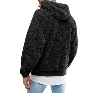 Men Plush Solid Color Autumn Casual Hooded Sweatshirt Top Long Sleeve Hoodiesdresslliy-dresslliy
