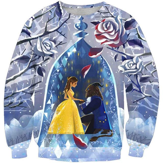 New arrival fashion Unisex Sweatshirt 3D Beauty beast print simple Casual whitedresslliy-dresslliy