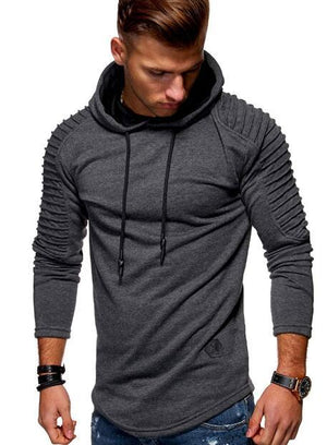 Solid Color Pleated Sleeve Long Fleece Hoodie Mens Casual Sweatshirts hem curveddresslliy-dresslliy