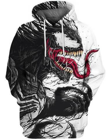 Drop shipping 2018 New Fashion Women/Men Hoodie movies Venom 3D Printdresslliy-dresslliy