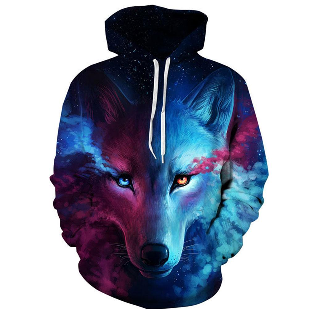 Sweats Hoodies Men'S Pullover 3D wolf pattern Hoodie Street Club Cool Sweatshirtsdresslliy-dresslliy