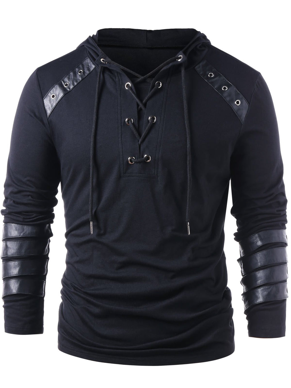 Kenancy Brand Designer Men Lace Up Faux Leather Hoodies Solid Long Sleevesdresslliy-dresslliy
