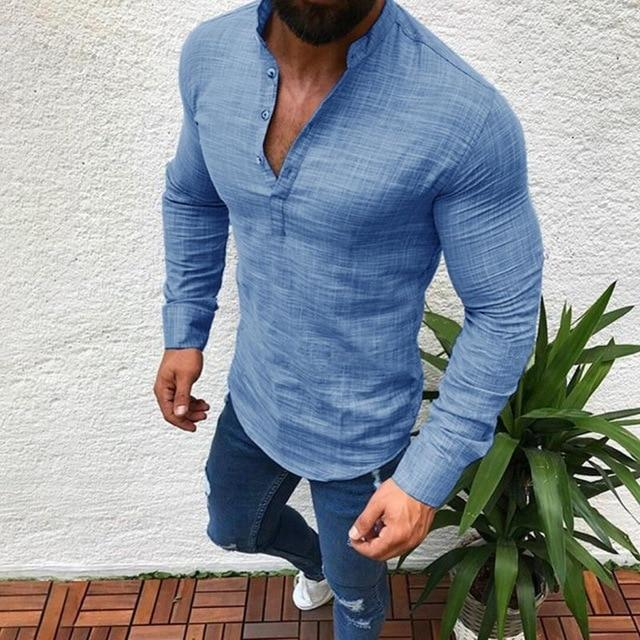 black blue grey Men Polyester Solid color Long Sleeve Shirts Pullover Topsdresslliy-dresslliy
