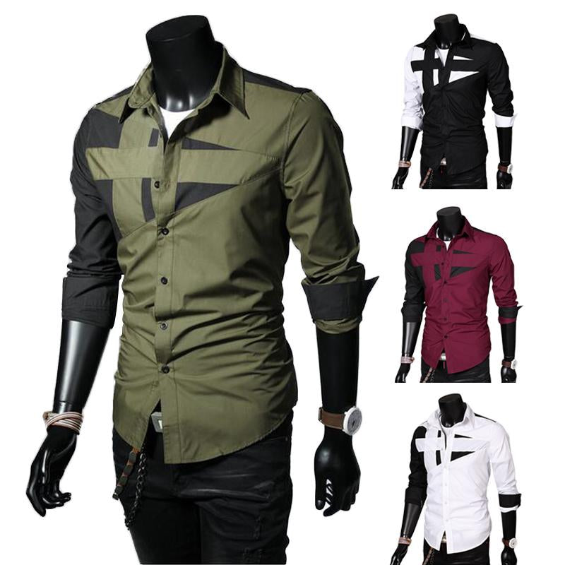 1Pcs Long-sleeved shirt fashion Splicing shirt Men's Shirtsdresslliy-dresslliy