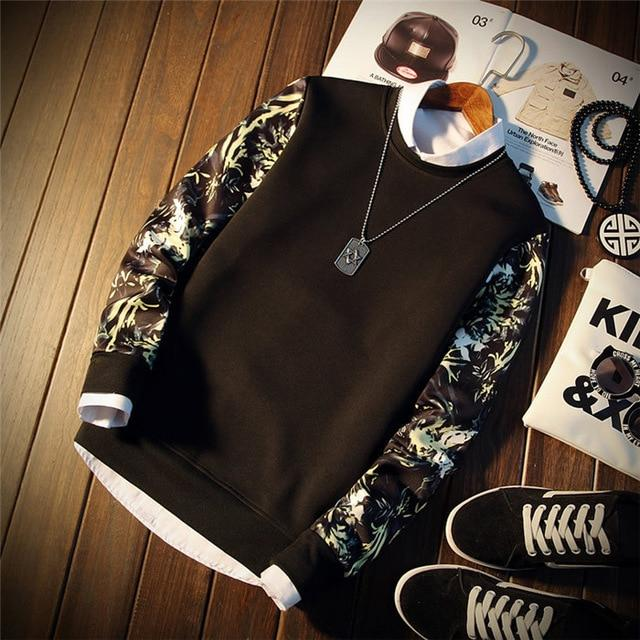 2018 New Fashion Floral Sweatshirt Men Casual Sweatshirt Male Sweatshirtsdresslliy-dresslliy