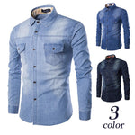 Denim Shirt Men Plus Large Size Cotton Jeans Cardigan Casual Fashion Two-pocketdresslliy-dresslliy