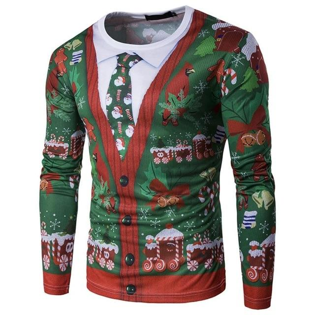 Fashion New Men Autumn Winter Xmas Christmas PrintingTop Men's Long-sleeved shirt Blousedresslliy-dresslliy