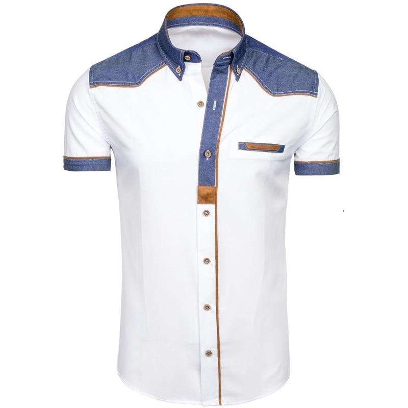 Men's Shirts Fashion Denim Short Sleeve Formal Shirts Man Casual Summer Clothingdresslliy-dresslliy