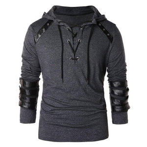 Vintage Leather Patchwork Lace Up Hoodie 2018 New Style Fashion New Designdresslliy-dresslliy