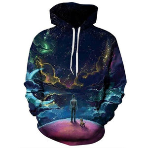 Colorful Clouds Sky Hoodies Men/Women 3d Sweatshirts Print Person and Dogdresslliy-dresslliy