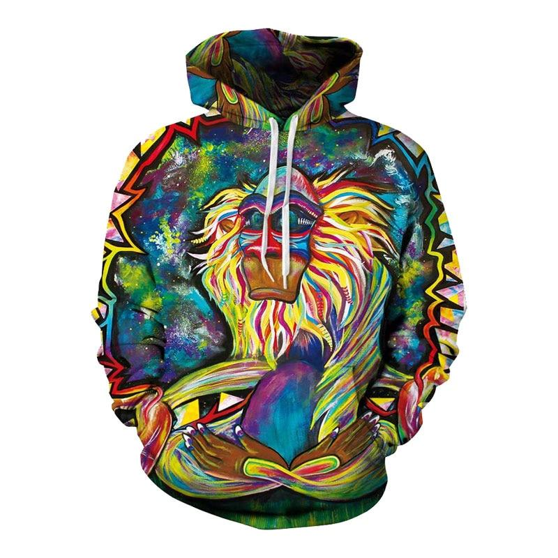 Spring Autumn Thin Hooded Hoodies Men/women 3d Sweatshirts With Cap Printdresslliy-dresslliy