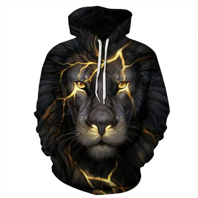 New Fashion Men/Women 3d Sweatshirts Print Golden Lightning Lion Hooded Hoodiesdresslliy-dresslliy