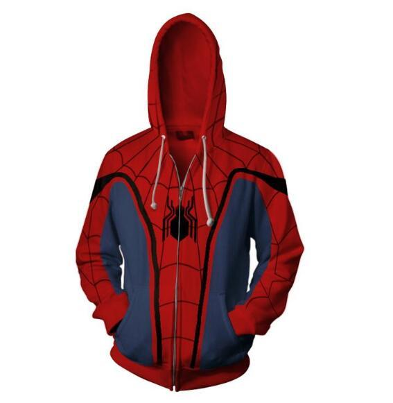 2018 new Autumn Winter 3D print spider-man Sweatshirts Hoodies Fashion Cosplay Zipperdresslliy-dresslliy