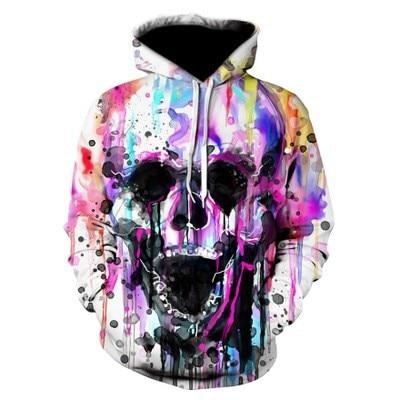 2019 New Arrival Skulls 3D Hoodies Sweatshirts Men pullover coats Loose Thindresslliy-dresslliy