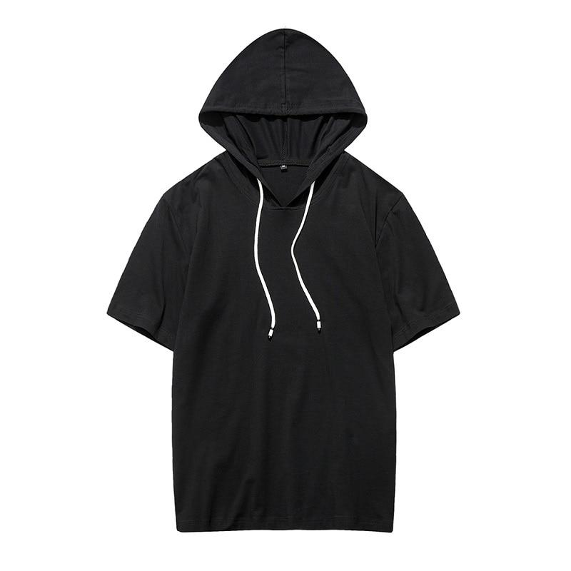 Summer Short Sleeve Hooded Clothing Mens Tops&Tees Fashion Black Male Tops Branddresslliy-dresslliy