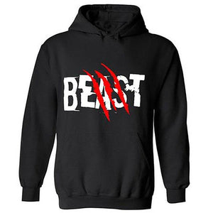 2019 BEAST AND BEAUTY Graphic Print Couple Hoodies Black Hooded Lovers Sweatshirtdresslliy-dresslliy