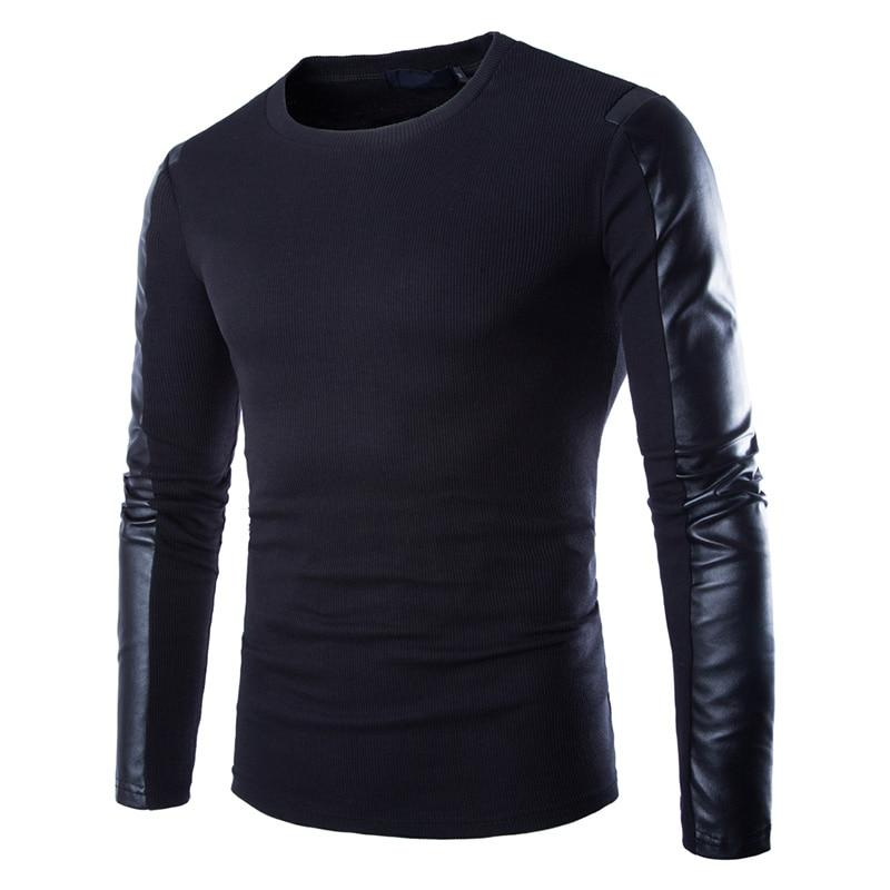 Fashion Men Hoodie Sweatshirt Black Long Sleeve Pullover PU Patchwork Maledresslliy-dresslliy
