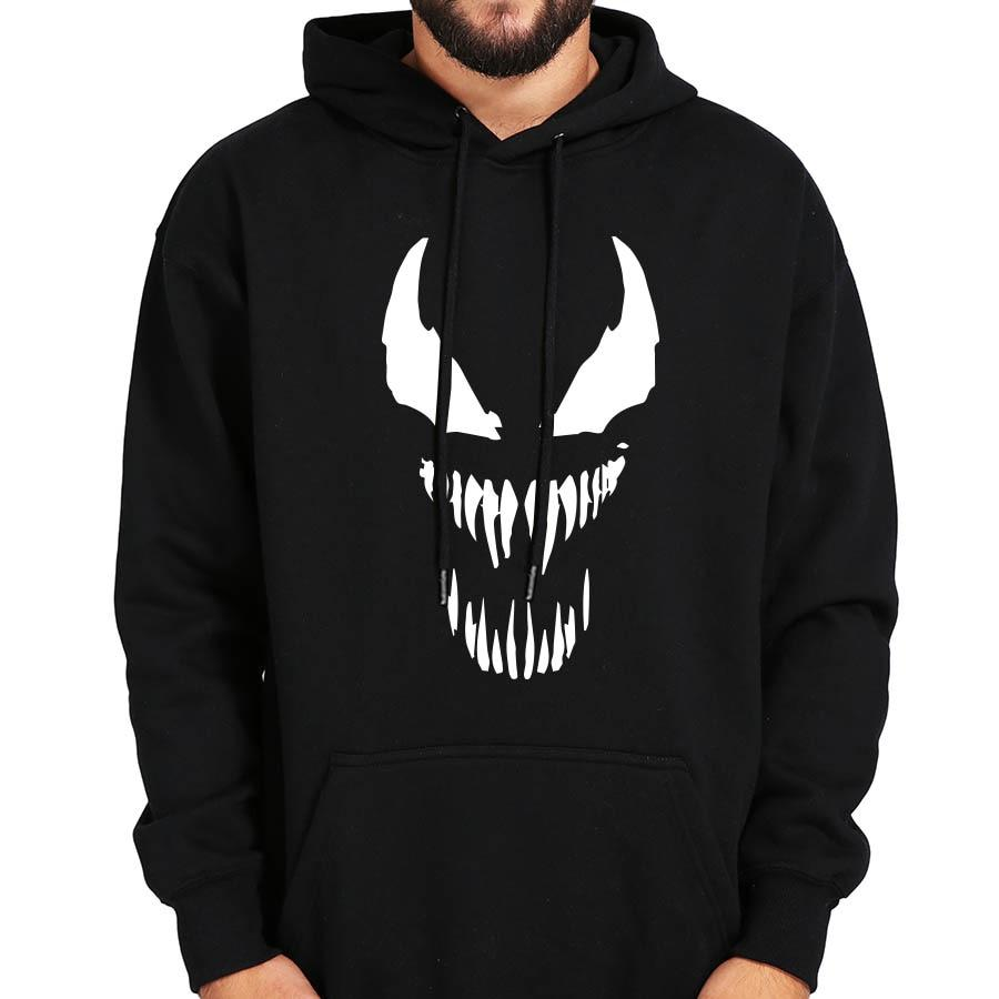 Comic Thick Venom Hoodie Sweatshirts Men Spiderman Superhero Anime Cool Black Autumndresslliy-dresslliy