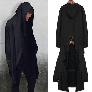 New Men Hooded Sweatshirts With Black Gown Hip Hop Mantle Hoodies Fashiondresslliy-dresslliy