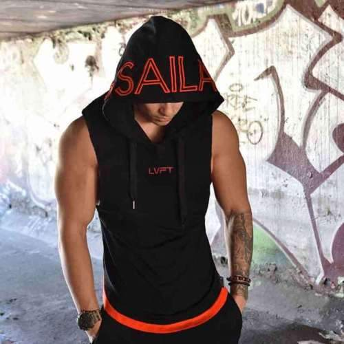New Mens Sleeveless Slim Hoodie Hooded Sweatshirt Fashion Letter Print Cotton Topsdresslliy-dresslliy