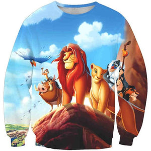 New arrival fashion Unisex Sweatshirt 3D Simba lion anime print simple Casualdresslliy-dresslliy