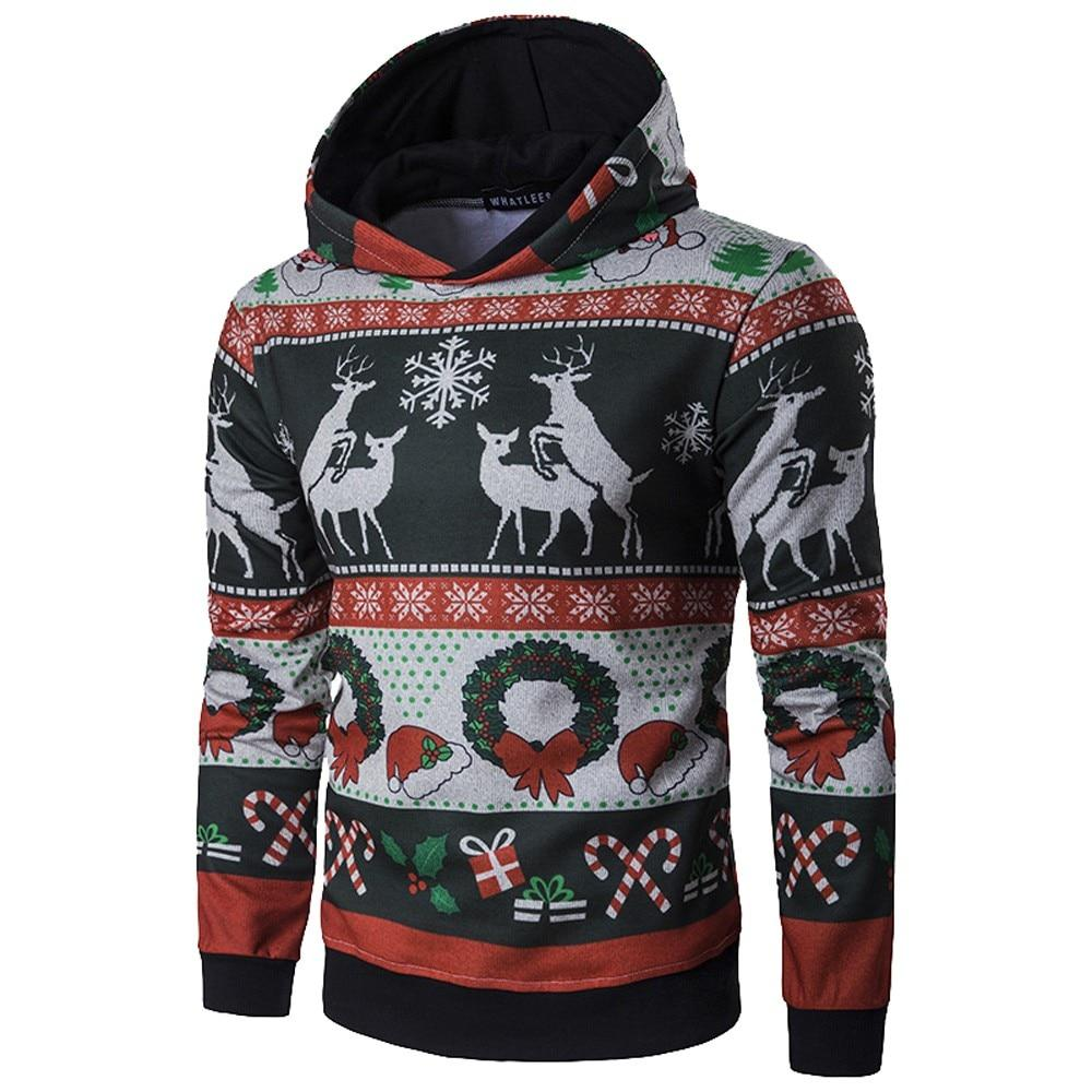 2018 Hoodie Sweatshirt Brand Men Winter Christmas Long Sleeve Hooded Pullover Outweardresslliy-dresslliy