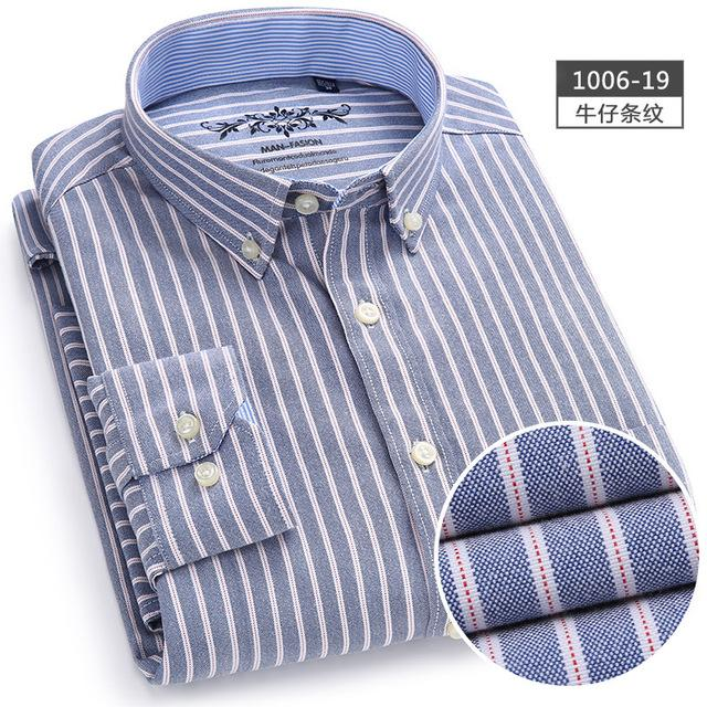 Men Shirt Long Sleeve Regular Fit Men Plaid Shirt Striped Shirts Mendresslliy-dresslliy