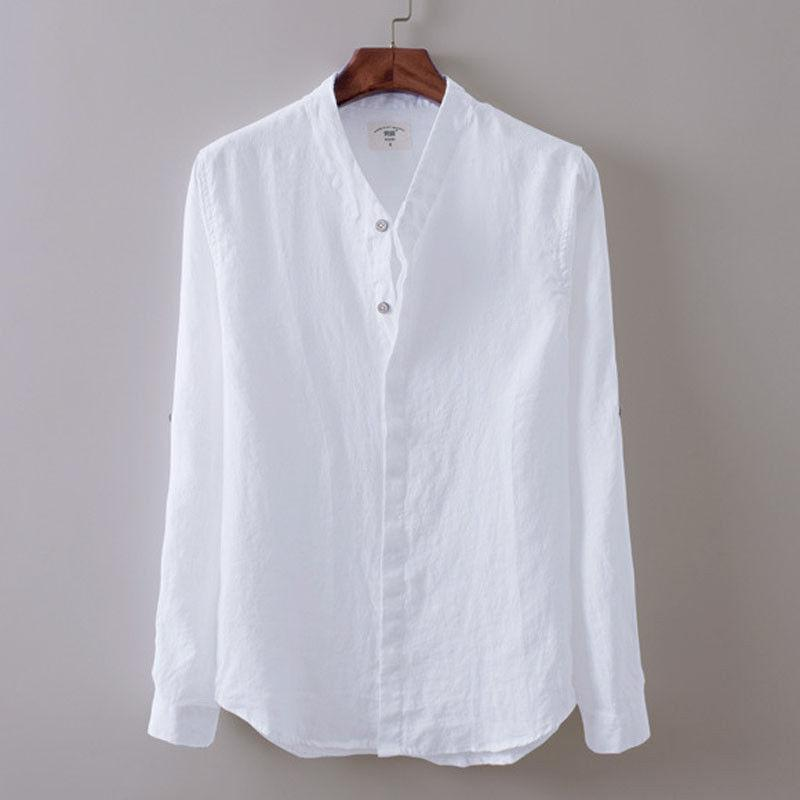 Fashion Men Summer Breathable Linen Beach Shirts Casual Loose Tops Men Thindresslliy-dresslliy